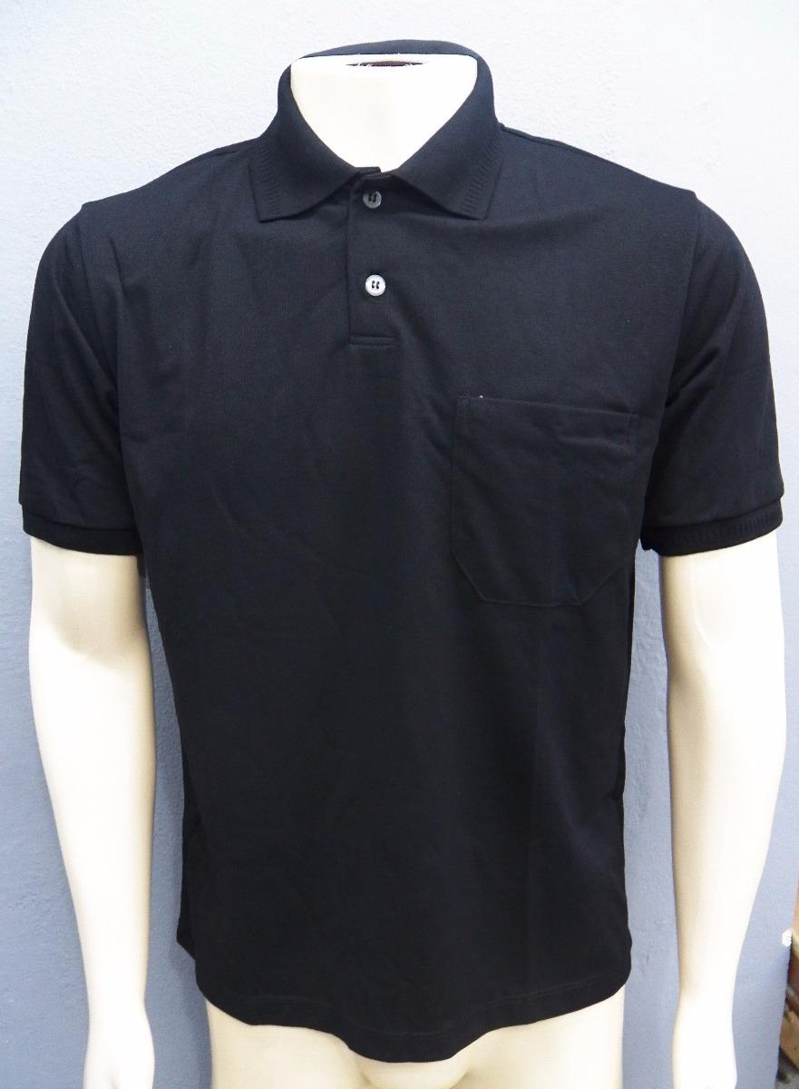 f568a696758d5 camisa gola polo masculina lisa básica com bolso preta. Carregando zoom.