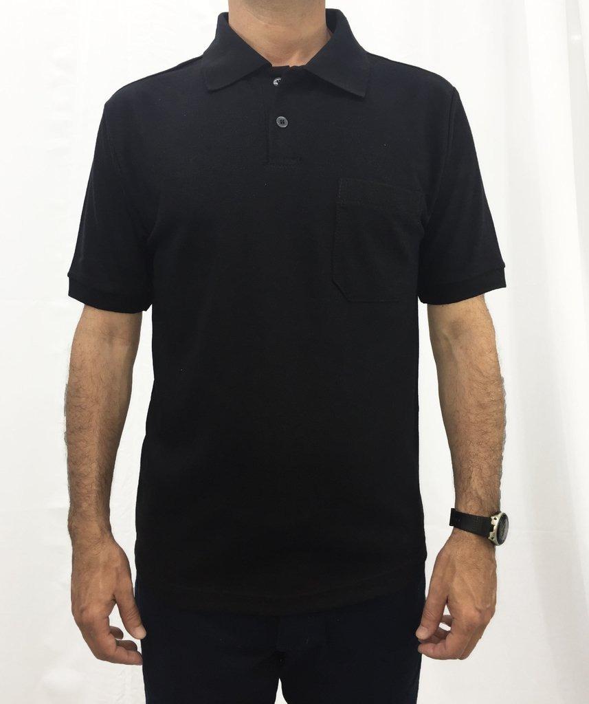481a6d3cdc camisa gola polo masculina preta lisa básica com bolso. Carregando zoom.