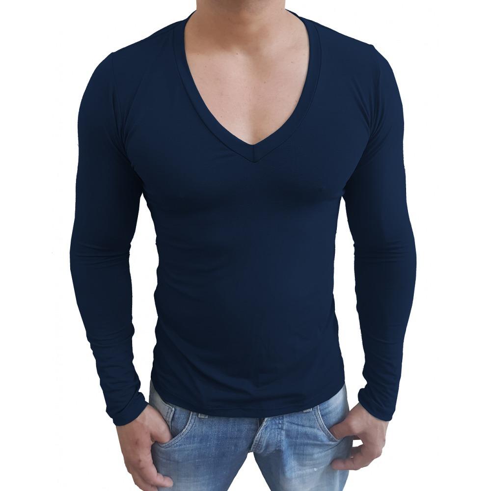 b352157a0c camisa gola v funda slim masculina blusa viscolycra. Carregando zoom.