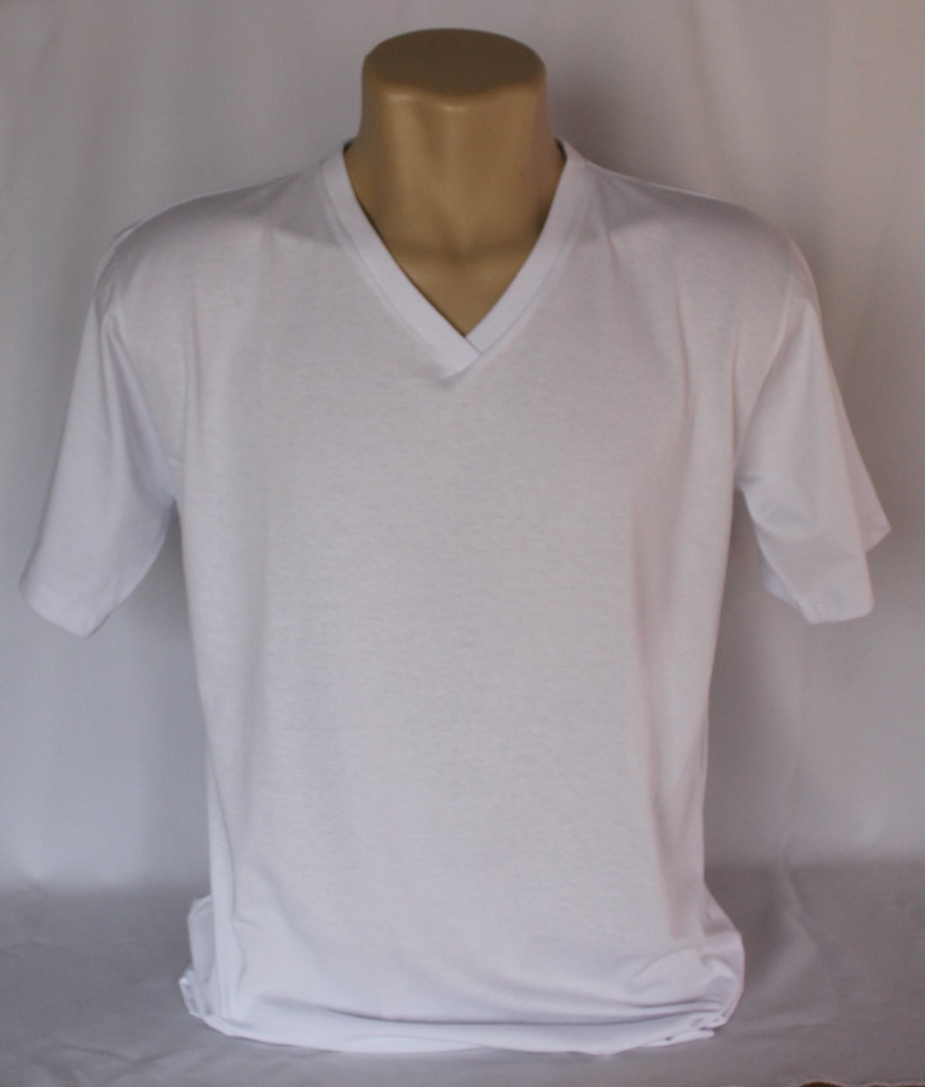 camisa gola v masculina lisa malha 100% algodão. Carregando zoom. ddfa349c05a
