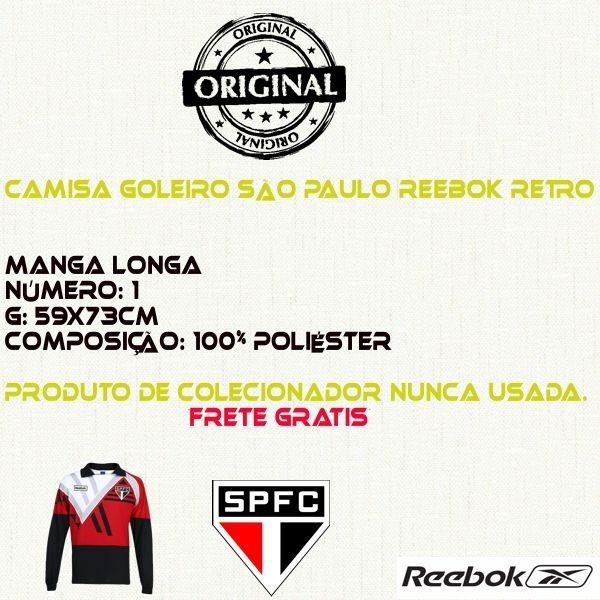 3d222637f Camisa Goleiro São Paulo Reebok Retro Zetti Rogerio Ceni - R  380