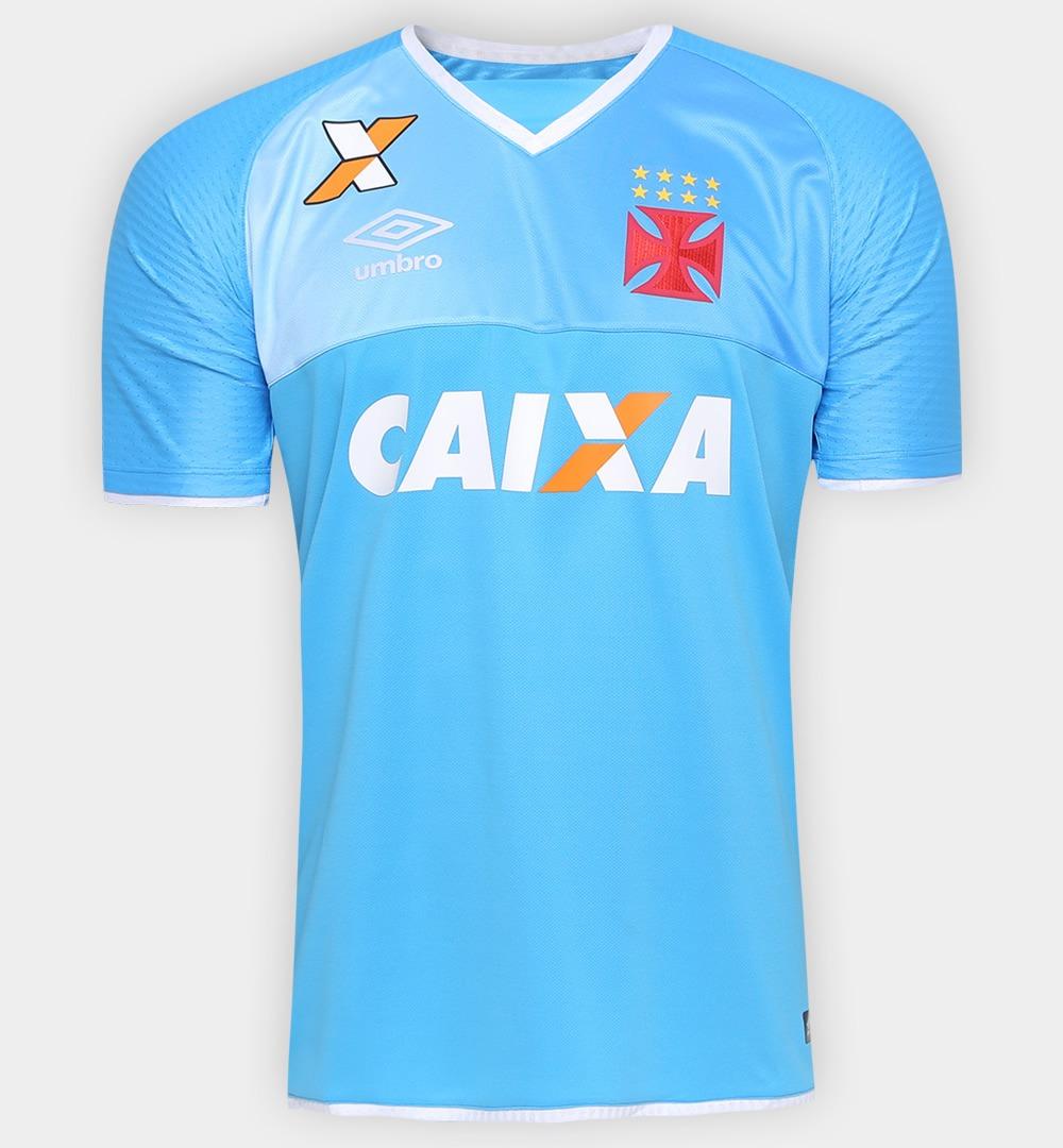 e9b125317034e Camisa Goleiro Vasco Da Gama 2017 Umbro Azul Celest E Branca - R ...