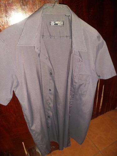 camisa gris manga corta para caballero
