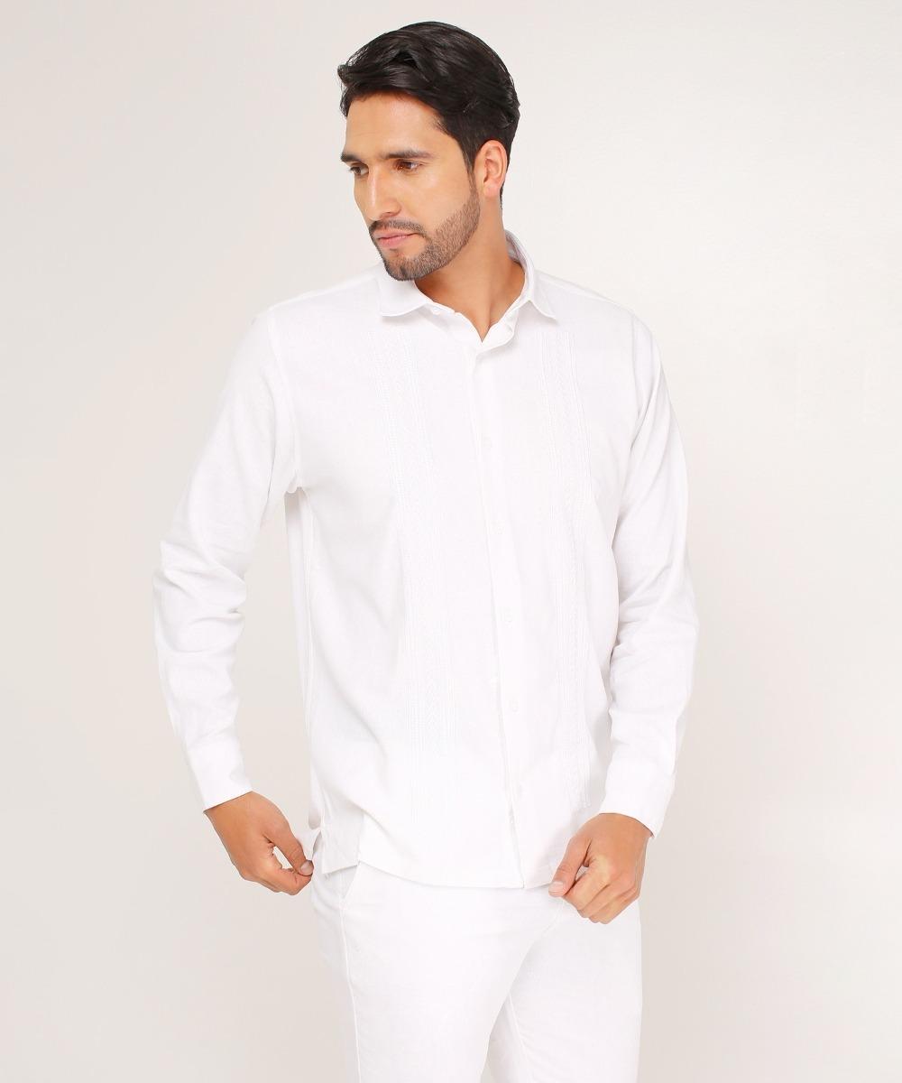50% rebajado hermoso estilo llega Camisa Guayabera Para Hombre, Manga Larga Blanca Blanco M Pa