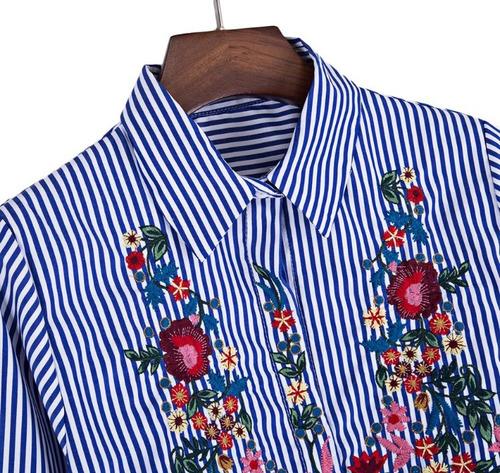 camisa helena bordada con flores importada