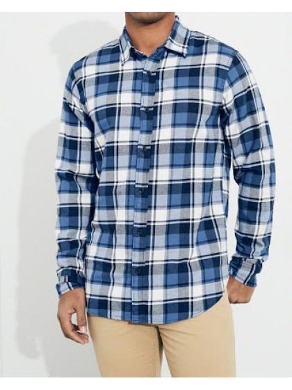 7917aff3dd51f Camisa Hollister Longline Fit Xadrez Azul - R  189