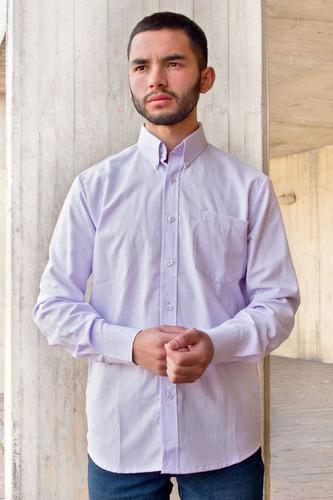 camisa hombre casual clásica oxford lila botón down