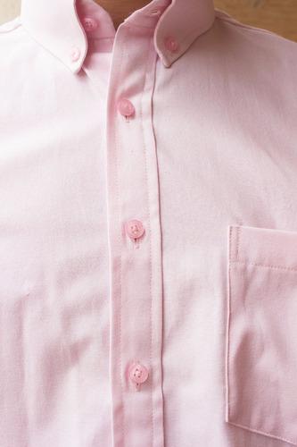 camisa hombre casual clásica oxford rosa pastel botón down