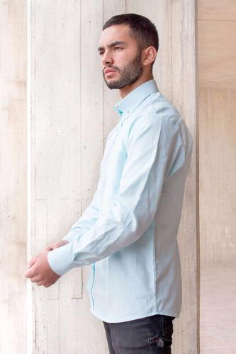 camisa hombre casual clásica oxford verde agua botón down