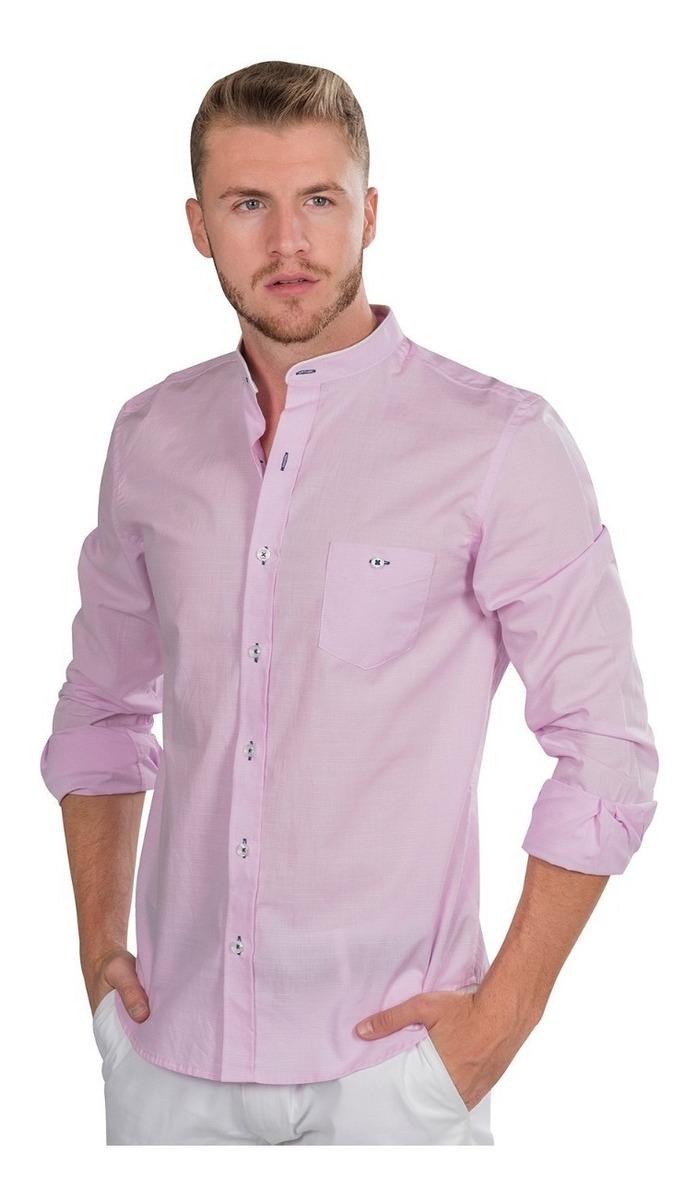 Casual Cuello Camisa Hombre Rosa B90313 Mao Slim Fit Lisa 0wkNnO8PX
