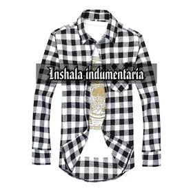 Camisa Hombre Escocesa Cuadros Entallada Blanco Y Negro