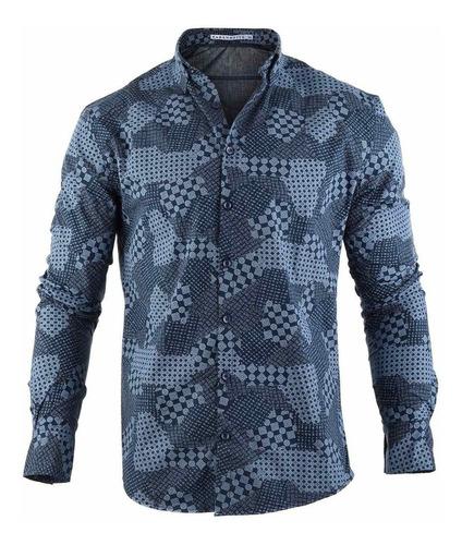 camisa hombre farenheite azul estampada algodón y poliéster