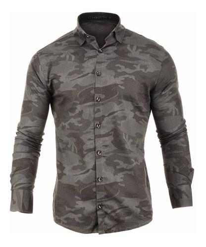 camisa hombre farenheite camuflada algodón y poliéster
