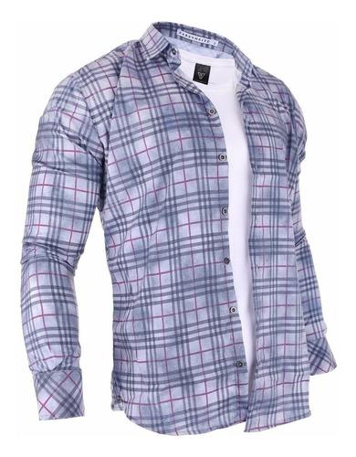 camisa hombre farenheite cuadros algodón y poliéster