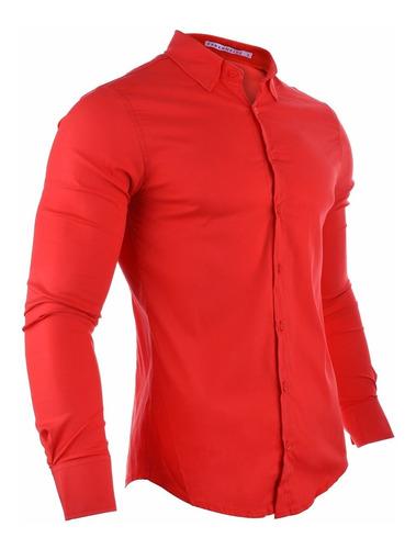 camisa hombre farenheite lisa roja