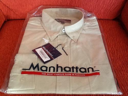 camisa hombre manhattan talle l beige buena calidad sport