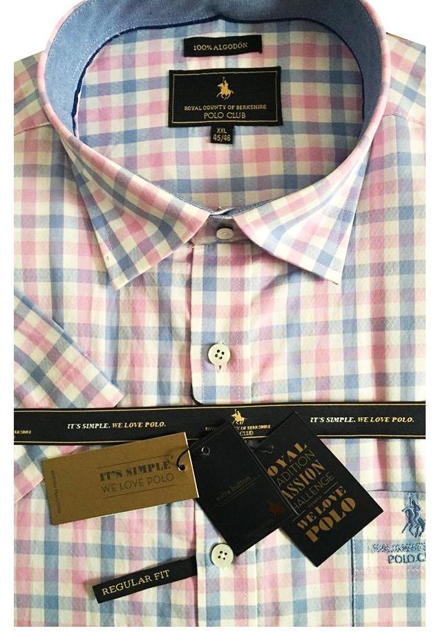 5cbd8f9a3b camisa hombre polo club manga corta cuadros gift rosa. Cargando zoom.