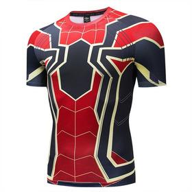 Camisa Homem Aranha De Ferro Compressão3d Manga Curta Marvel