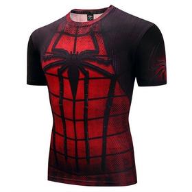 Camisa Homem Aranha Heroi Marvel Manga Curta Academia Luxo