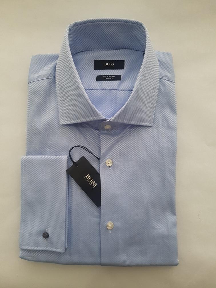 Camisa Hugo Boss Azul Textura Puño Mancuernillas 17 32 33 ... 347ccce24b7