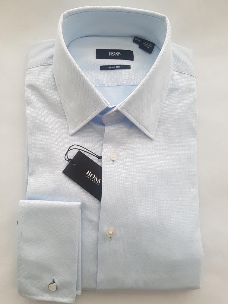 Camisa Hugo Boss Celeste Reg Fit Puño Mancuernillas 15 34 35 ... 889c306cea4