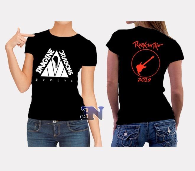 342358c682 Camisa Imagine Dragons Evolve Rock In Rio Brasil Baby Look - R  40 ...
