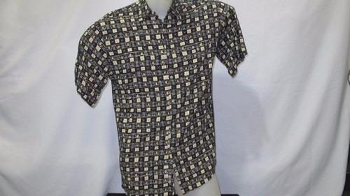 camisa imp pierre cardin rayon p preta/dourado 111-415