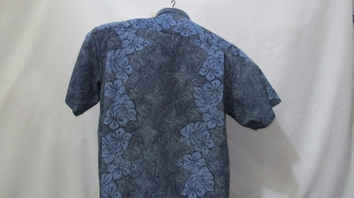 camisa imp xg tribal / floral azul poliester g 111-347