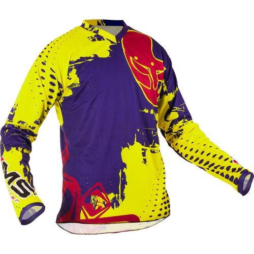 camisa ims action fluorescente (amarelo/roxo, p)