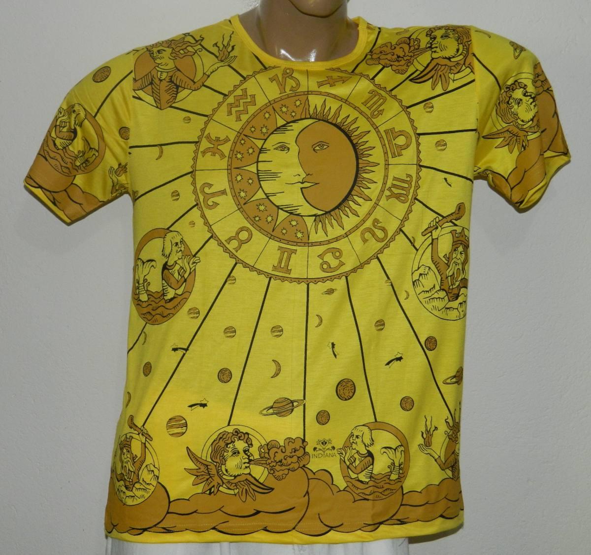 ce8a02765 camisa indiana zodiaco signos sol lua hippie tenda roots. Carregando zoom.