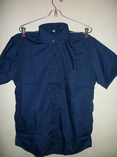camisa industrial azul manga corta talla s