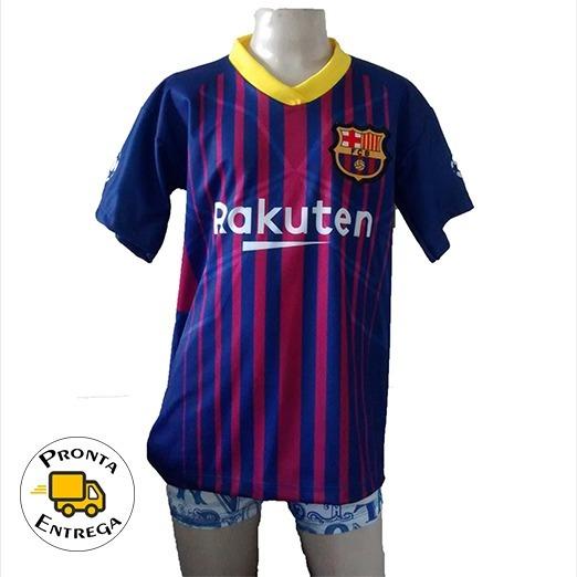 Camisa Infantil Do Barcelona 2018 2019 Messi 10 - R  27 c2e1b2a6d6b25