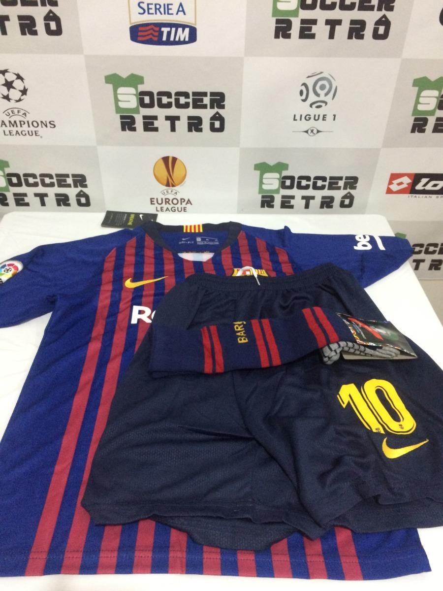 camisa infantil kit barcelona 2018-19 messi 10 10 anos. Carregando zoom. c33573d82b3e3