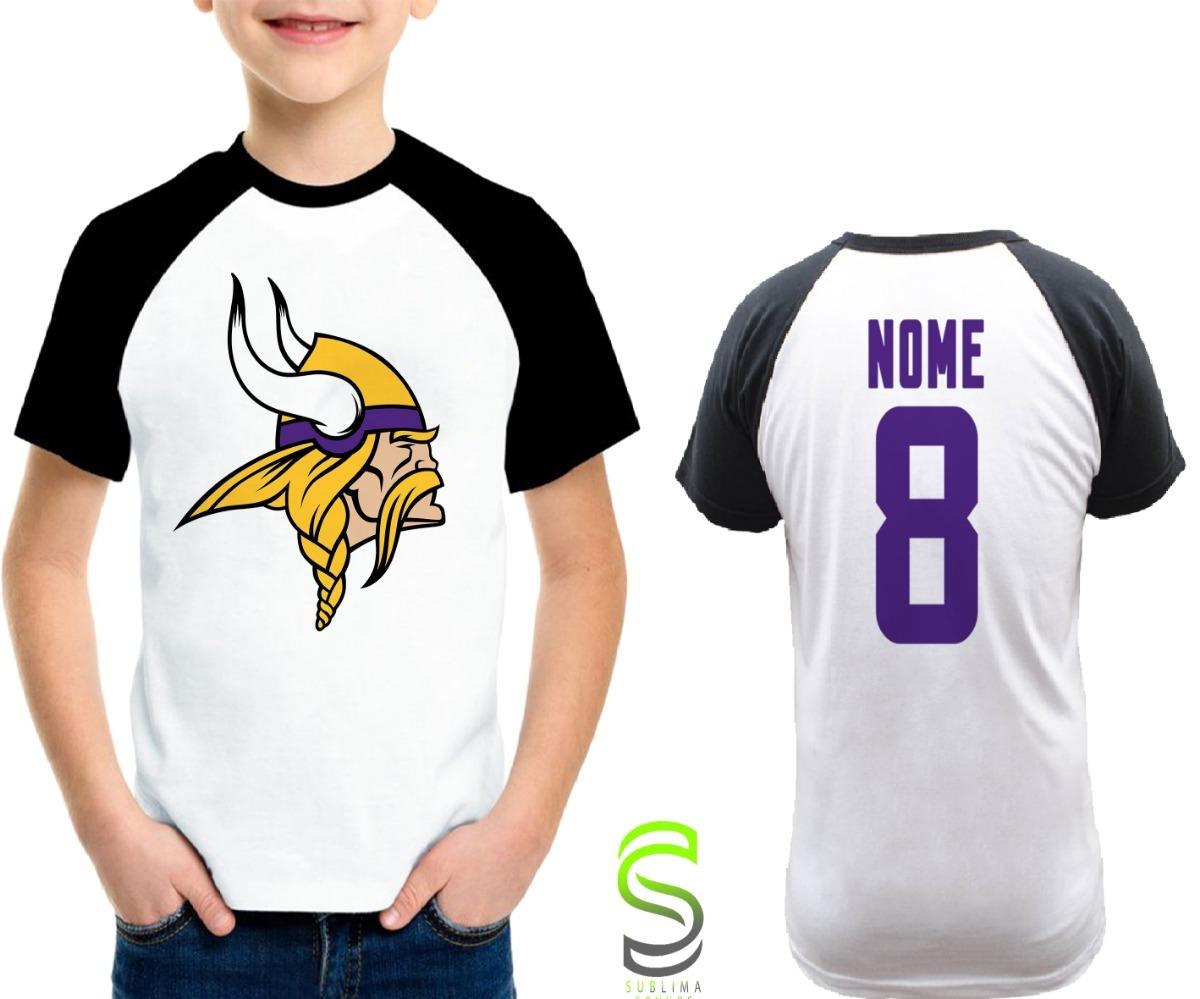 7758c7926 camisa infantil minnesota vikings personalizada nfl raglan. Carregando zoom.