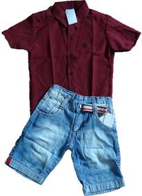 dc2774ab04 Camisa Infantil Social Masculina Com Shorts + Cinto