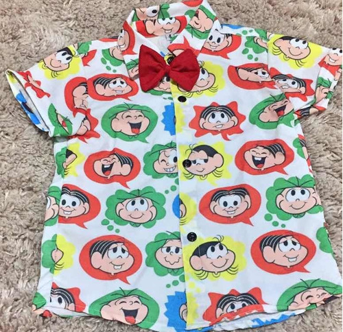 camisa infantil  temática turma da mônica luxo festa