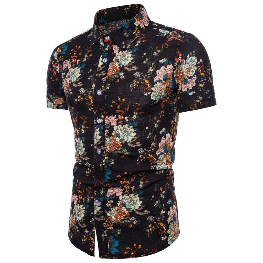 Camisa Informal Manga Corta De Moda Estampado Para Hombre