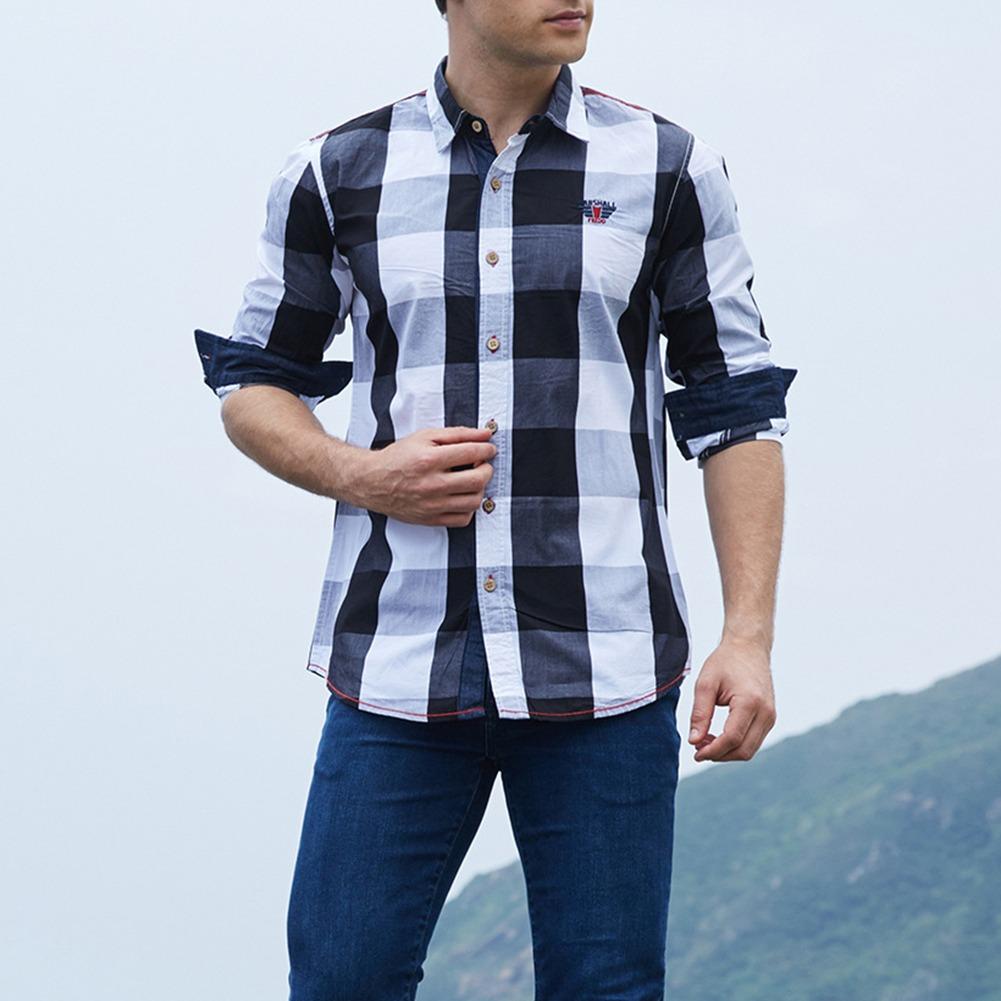 85973f98479f8 camisa informal manga larga a cuadros negro para hombre l. Cargando zoom.