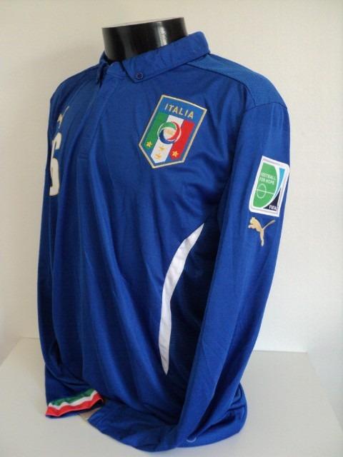 b0f8f49ca3510 Camisa Itália Home 14-15 De Rossi 16 Manga Longa Importada - R  159 ...