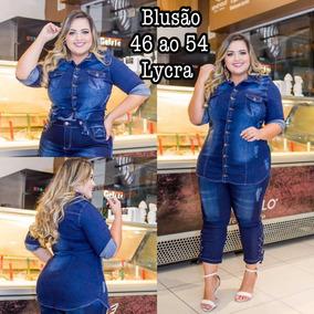 ebb9b82a6 Camisa Jeans Feminina Tamanho 50 - Camisa Casual Manga Longa ...