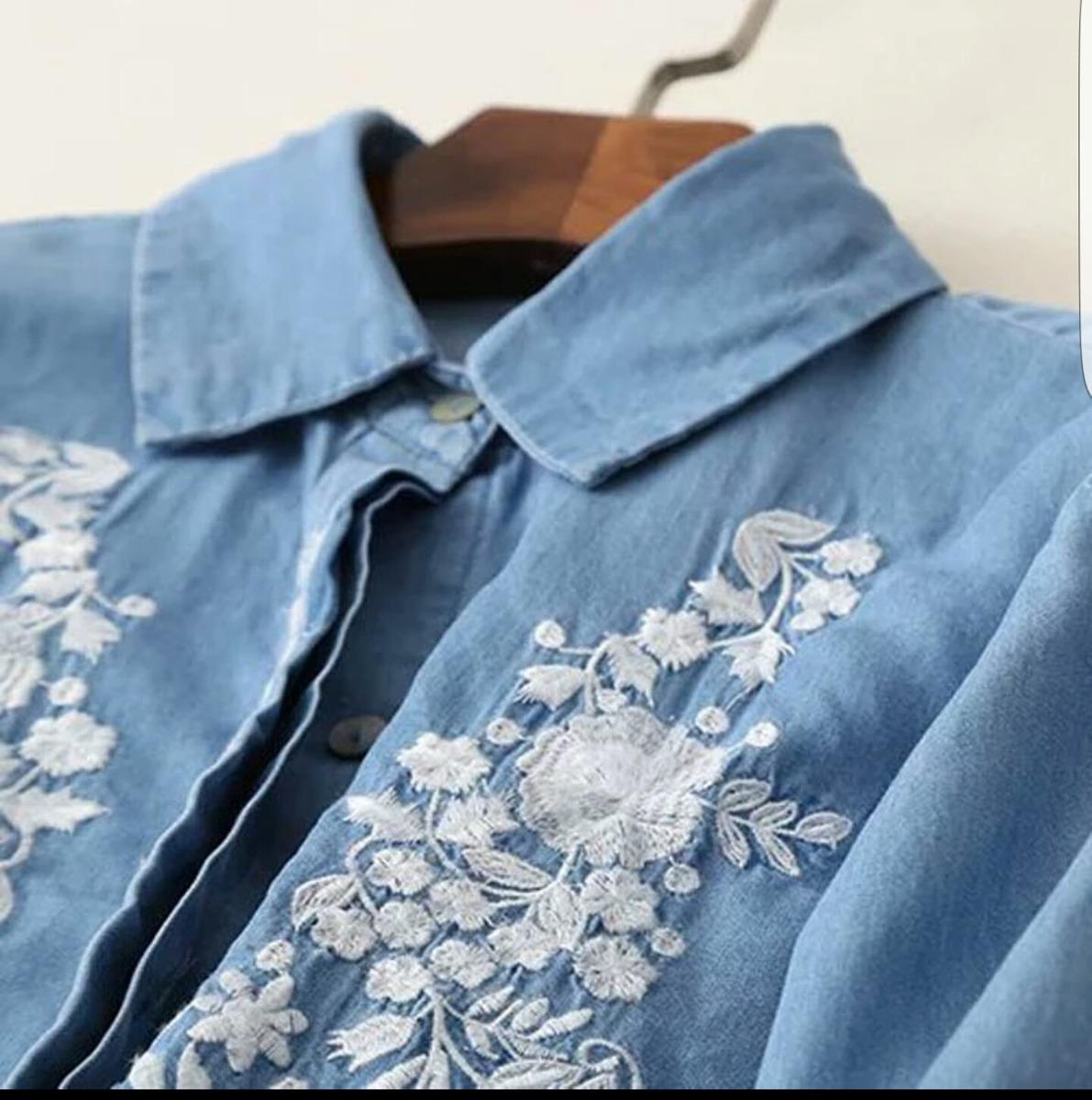 Camisa Jean Bordado Mujer Moda 2017 Verano Zara Importado