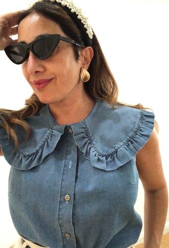 camisa jean mujer cuello peter pan grande
