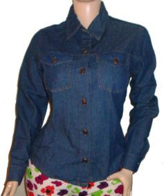 fotos oficiales c9eea 04cf3 Camisa Jean Para Dama Manga Larga A La Moda