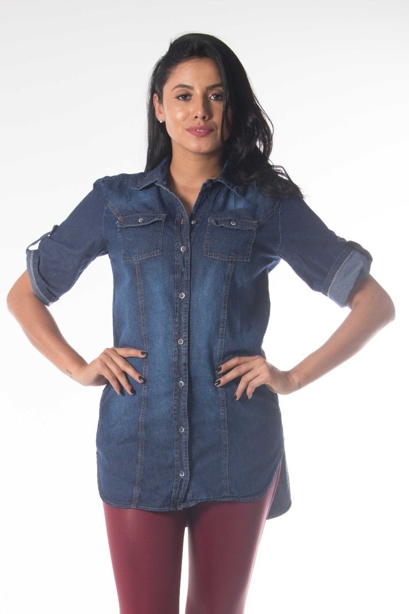 8f3467f860ab camisa jeans azul plus size g1 g2 g3 g4 jeans feminina. Carregando zoom.