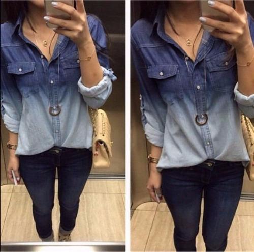 camisa jeans barata degrade feminina - pronta entrega