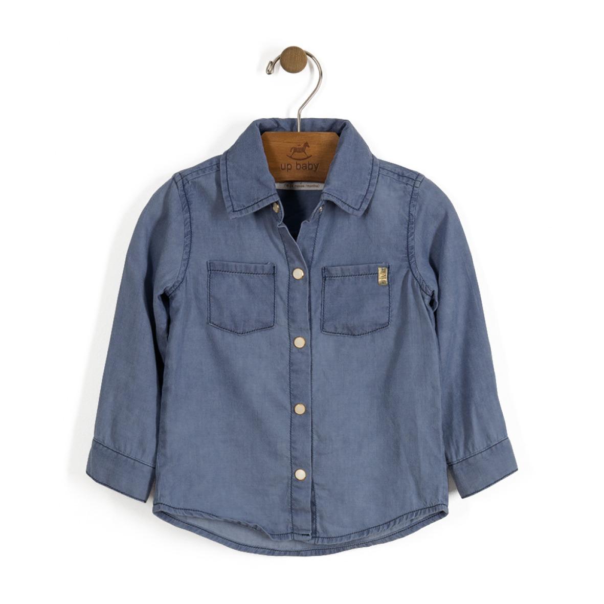 9685eb920c7cda Camisa Jeans Bebe Manga Longa Menina Up Baby