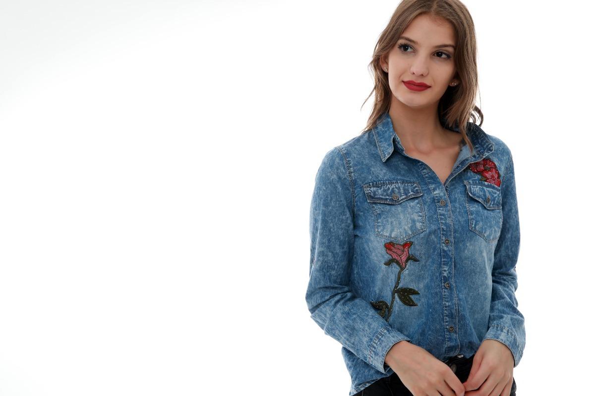 b4338d25a camisa jeans bordado feminina 2019 lançamento importa l001. Carregando zoom.