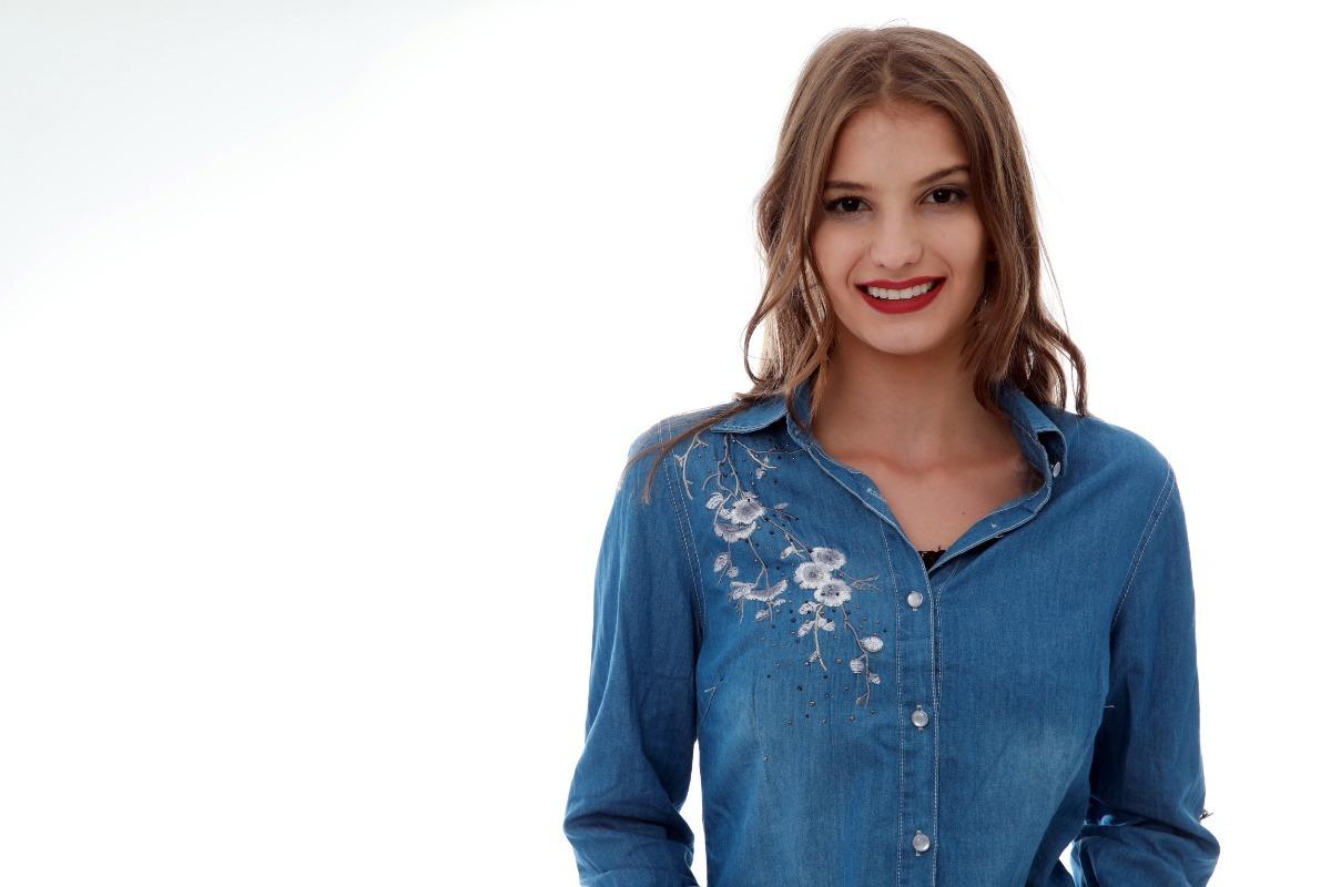 e5fd1889c camisa jeans bordado feminina importar l004 lançamento. Carregando zoom.