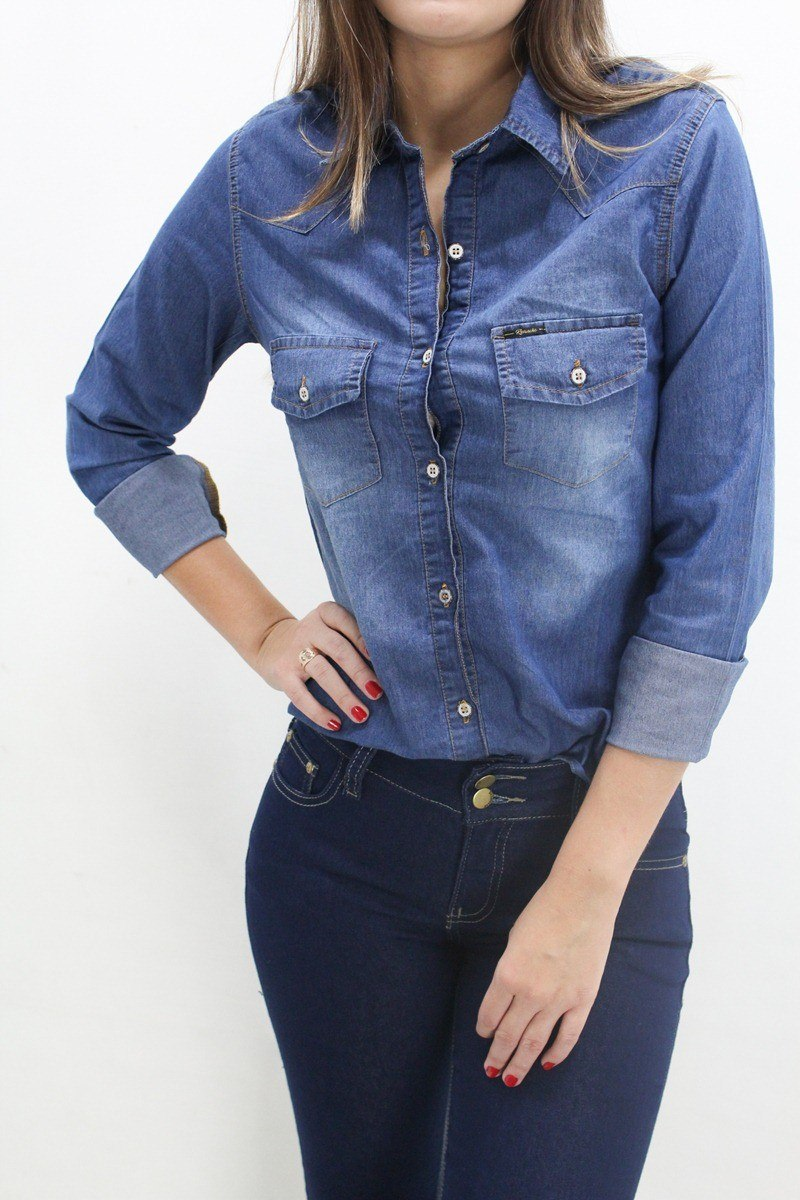 899fb84e2 camisa jeans com elastano revanche. Carregando zoom.