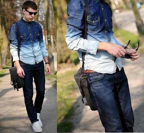 Camisa Jeans Degrade Homem Moda Masculina Veste Bem Slim